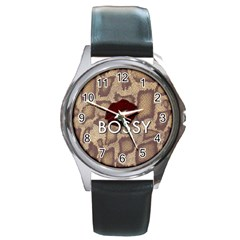 Bossy Snake Texture  Round Leather Watch (Silver Rim) by OCDesignss