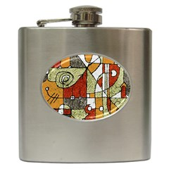 Multicolored Abstract Tribal Print Hip Flask by dflcprints