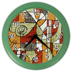 Multicolored Abstract Tribal Print Wall Clock (color) by dflcprints
