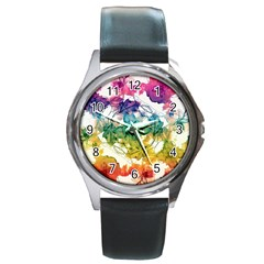 Multicolored Floral Swirls Decorative Design Round Leather Watch (silver Rim) by dflcprints