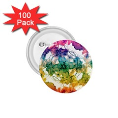 Multicolored Floral Swirls Decorative Design 1 75  Button (100 Pack) by dflcprints