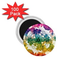 Multicolored Floral Swirls Decorative Design 1 75  Button Magnet (100 Pack) by dflcprints