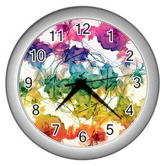 Multicolored Floral Swirls Decorative Design Wall Clock (silver) by dflcprints
