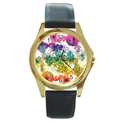 Multicolored Floral Swirls Decorative Design Round Leather Watch (gold Rim)  by dflcprints