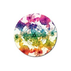 Multicolored Floral Swirls Decorative Design Magnet 3  (round) by dflcprints