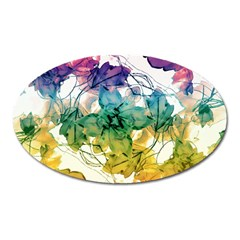 Multicolored Floral Swirls Decorative Design Magnet (oval) by dflcprints