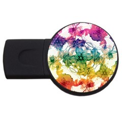 Multicolored Floral Swirls Decorative Design 2gb Usb Flash Drive (round) by dflcprints