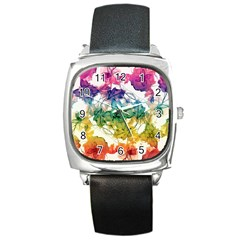 Multicolored Floral Swirls Decorative Design Square Leather Watch by dflcprints