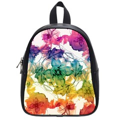 Multicolored Floral Swirls Decorative Design School Bag (small) by dflcprints