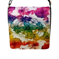 Multicolored Floral Swirls Decorative Design Flap Closure Messenger Bag (large) by dflcprints