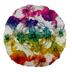 Multicolored Floral Swirls Decorative Design Large Flano Round Cushion  by dflcprints