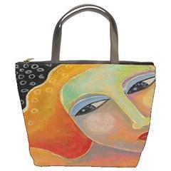 Beautiful Abstract Painting On Small Handbag Bucket Handbag by paintedpurses