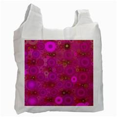 Pinka Dots  White Reusable Bag (One Side) by OCDesignss