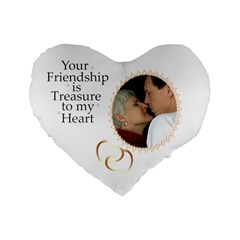 Friendship Standard Heart Cushion By Deborah   Standard 16  Premium Flano Heart Shape Cushion    4c3wxduc02z4   Www Artscow Com Front