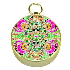 Florescent Abstract  Gold Compass by OCDesignss