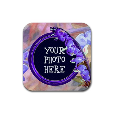 Purple Bleedingheart Rubber Square Coaster By Chere s Creations   Rubber Coaster (square)   Eke9finrnh13   Www Artscow Com Front