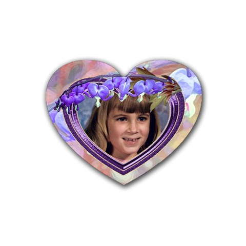 Purple Bleedingheart Rubber Coaster Heart By Chere s Creations   Rubber Coaster (heart)   3to84nwjwt8i   Www Artscow Com Front