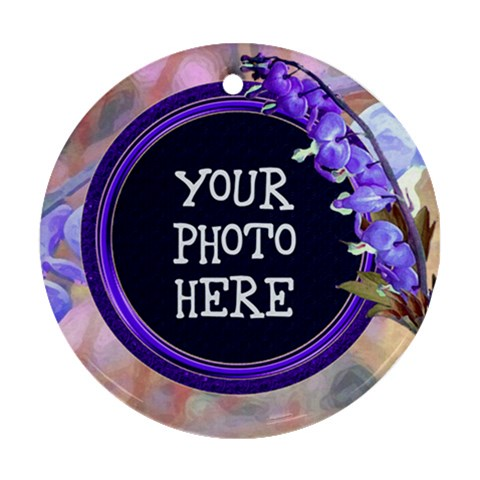 Purple Bleedingheart Ornament Round By Chere s Creations   Ornament (round)   Dard0d49baw4   Www Artscow Com Front