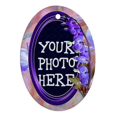 Purple Bleedingheart Ornament Oval By Chere s Creations   Ornament (oval)   Czil6opf5xoz   Www Artscow Com Front