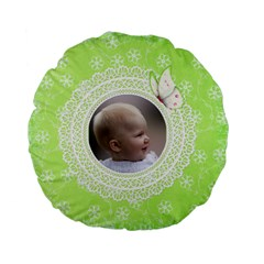 Girl Green Lace Standard Flano Round Cushion By Deborah   Standard 15  Premium Flano Round Cushion    Ski106tnlrcm   Www Artscow Com Front