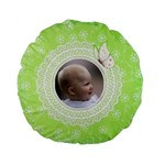 Girl Green Lace Standard Flano Round Cushion - Standard 15  Premium Flano Round Cushion