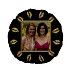 Black and gold Standard Flano Round Cushion - Standard 15  Premium Flano Round Cushion
