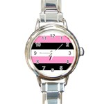 Black, Pink And White Stripes  By Celeste Khoncepts Com 20x28 Round Italian Charm Watch