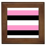 Black, Pink And White Stripes  By Celeste Khoncepts Com 20x28 Framed Ceramic Tile
