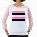 Black, Pink And White Stripes  By Celeste Khoncepts Com 20x28 Women s Long Cap Sleeve T-Shirt (White)
