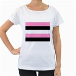 Black, Pink And White Stripes  By Celeste Khoncepts Com 20x28 Women s Loose-Fit T-Shirt (White)