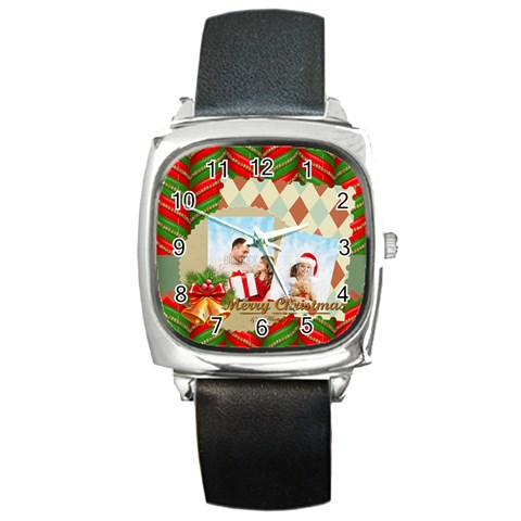 Xmas By Xmas4   Square Metal Watch   Lar2blnupa8w   Www Artscow Com Front