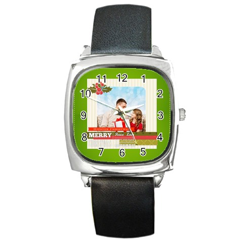 Xmas By Xmas4   Square Metal Watch   Yd9e9wtx0u75   Www Artscow Com Front