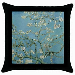 Vincent Van Gogh, Almond Blossom Black Throw Pillow Case by Oldmasters