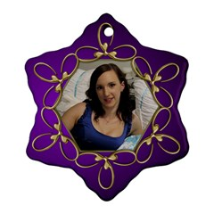 Pup Purple And Gold Snowflake  Ornament (2 Sided) By Deborah   Snowflake Ornament (two Sides)   F3mel12o24ew   Www Artscow Com Back