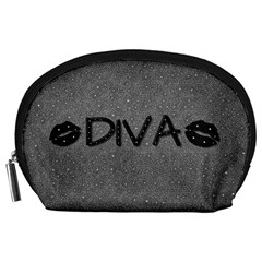 Diva Blk Glitter Lips Accessory Pouch (large) by OCDesignss