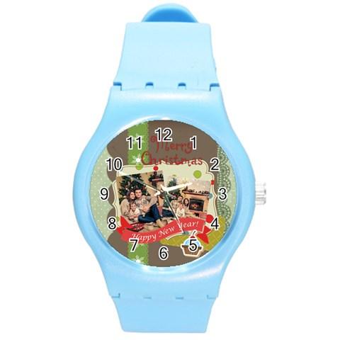 Xmas By Xmas   Round Plastic Sport Watch (m)   W2syfs44pd06   Www Artscow Com Front