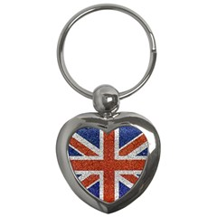 England Flag Grunge Style Print Key Chain (heart) by dflcprints