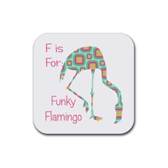F Is For Funky Flamingo Drink Coaster (square) by CrypticFragmentsColors