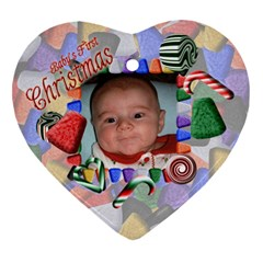 Baby s First Christmas Heart Ornament Two Sides By Chere s Creations   Heart Ornament (two Sides)   Etih4pr2h5ts   Www Artscow Com Front