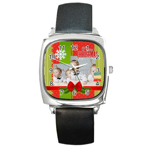 Xmas By Xmas   Square Metal Watch   9mzokg7t21hj   Www Artscow Com Front