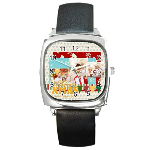Xmas By Xmas   Square Metal Watch   Redfy5cm0q3o   Www Artscow Com Front
