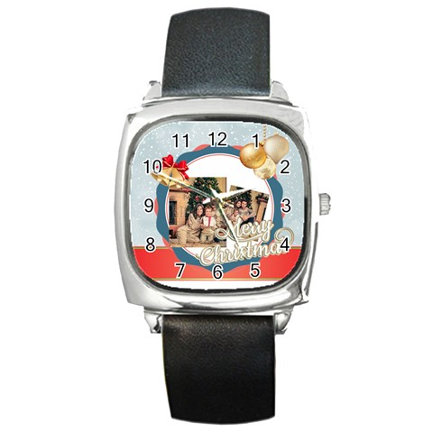 Xmas By Xmas   Square Metal Watch   H3c3ucmxnczc   Www Artscow Com Front