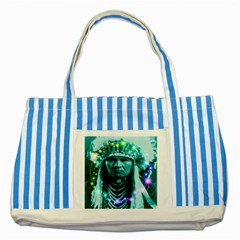 Magical Indian Chief Blue Striped Tote Bag by icarusismartdesigns