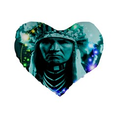 Magical Indian Chief 16  Premium Flano Heart Shape Cushion  by icarusismartdesigns