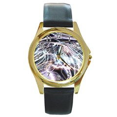 Solar Tide Round Leather Watch (gold Rim)  by icarusismartdesigns