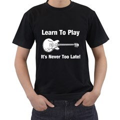 Learn To Play Electric Guitar Men s T Shirt (black) by goodmusic