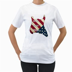Usa Guitar Pickguard  Women s T Shirt (white)  by goodmusic