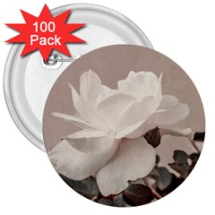 White Rose Vintage Style Photo In Ocher Colors 3  Button (100 Pack) by dflcprints