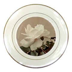 White Rose Vintage Style Photo In Ocher Colors Porcelain Display Plate by dflcprints