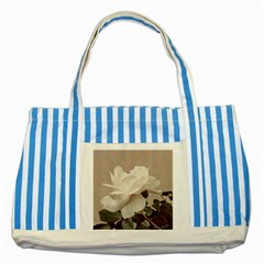 White Rose Vintage Style Photo In Ocher Colors Blue Striped Tote Bag by dflcprints